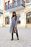 Женское длинное осеннее пальто в принт гусиная лапка с поясом (р. S-L) vN10855, фото 6