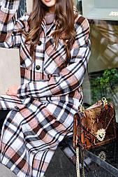 Женское длинное пальто - рубашка без подклада в клетку, на пуговицах (р. S-L) vN10856