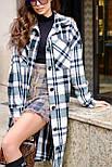 Женское длинное пальто - рубашка без подклада в клетку, на пуговицах (р. S-L) vN10856, фото 4
