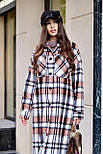 Женское длинное пальто - рубашка без подклада в клетку, на пуговицах (р. S-L) vN10856, фото 5