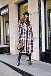 Женское длинное пальто - рубашка без подклада в клетку, на пуговицах (р. S-L) vN10856, фото 6