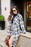 Женское длинное пальто - рубашка без подклада в клетку, на пуговицах (р. S-L) vN10856, фото 9