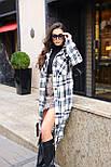 Женское длинное пальто - рубашка без подклада в клетку, на пуговицах (р. S-L) vN10856, фото 10