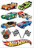 Вафельна картинка Hot Wheels | Їстівні картинки Хот вілс | Гарячі гонки картинки різні Формат А4, фото 2