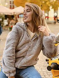 Женская короткая искусственная шуба автоледи с капюшоном и на молнии (р. 42-46) vN10859