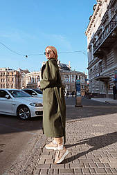 Женское зимнее кашемировое пальто на запах с поясом длиной ниже колена (р. S-L) vN10862