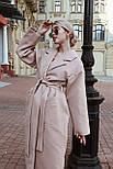 Женское зимнее кашемировое пальто на запах с поясом длиной ниже колена (р. S-L) vN10862, фото 3