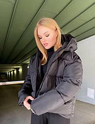 Женская удлиненная зимняя куртка на молнии с объемным капюшоном (р. 42-46) vN10879