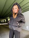 Женская удлиненная зимняя куртка на молнии с объемным капюшоном (р. 42-46) vN10879, фото 6