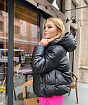 Женская кожаная зимняя куртка - пуховик на молнии с объемным капюшоном (р. 42-48) vN10880, фото 6