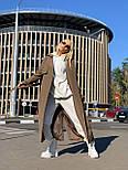 Длинный женское тренч под пояс с воротником стойкой (р. 42-46) vN10882, фото 5