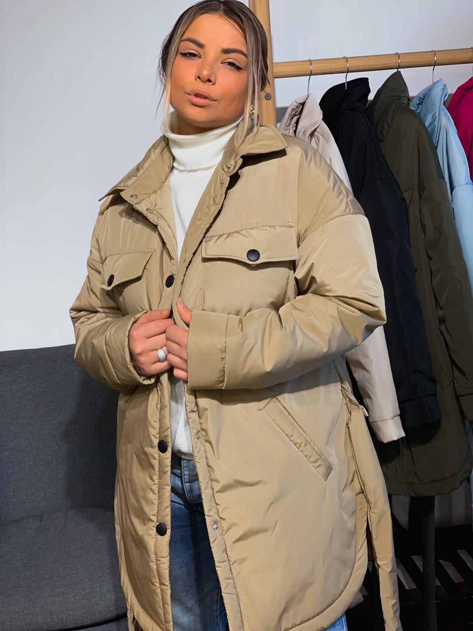 Женская зимняя куртка удлиненная под пояс, с нагрудными карманами (р. 42-48) vN10884