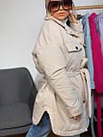 Женская зимняя куртка удлиненная под пояс, с нагрудными карманами (р. 42-48) vN10884, фото 2