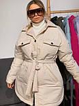 Женская зимняя куртка удлиненная под пояс, с нагрудными карманами (р. 42-48) vN10884, фото 4