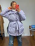 Женская зимняя куртка удлиненная под пояс, с нагрудными карманами (р. 42-48) vN10884, фото 7