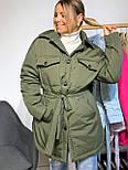 Женская зимняя куртка удлиненная под пояс, с нагрудными карманами (р. 42-48) vN10884, фото 8