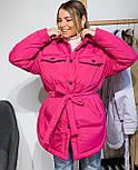 Женская зимняя куртка удлиненная под пояс, с нагрудными карманами (р. 42-48) vN10884, фото 9