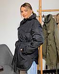 Женская зимняя куртка удлиненная под пояс, с нагрудными карманами (р. 42-48) vN10884, фото 10