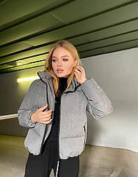 Женская короткая зимняя куртка на молнии с глубоким капюшоном и стойкой (р. 42-48) vN10887