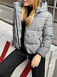 Женская короткая зимняя куртка на молнии с глубоким капюшоном и стойкой (р. 42-48) vN10887, фото 3