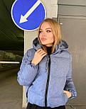 Женская короткая зимняя куртка на молнии с глубоким капюшоном и стойкой (р. 42-48) vN10887, фото 5