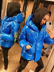Зимняя женская куртка - пуховик из лаковой плащевки с объемным капюшоном (р. 42-46) vN10895