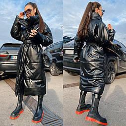 Длинное зимнее кожаное пальто под пояс с воротником стойкой (р. 42 - 48) vN10896