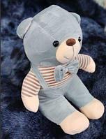 Детский плюшевый плед игрушка медвежонок 3 в 1 серо голубого цвета