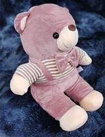 Детский плюшевый плед игрушка медвежонок 3 в 1 розового цвета