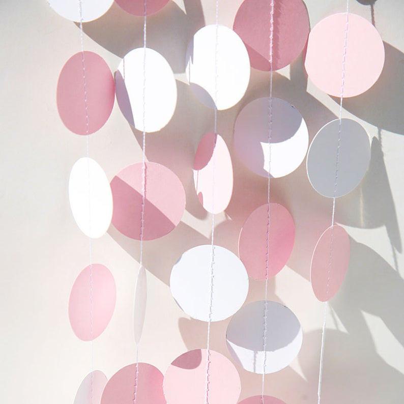 Гирлянда бумажная Круги 5,5 см Розово-белая 5 метров