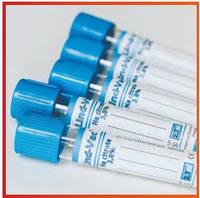 Пробирка вакуумная 2,7 мл крови 13*75 цитрат натрия 3,8%,  голубая крышка, Lind-Vac®