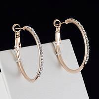 Миловидные серьги кольца с кристаллами Swarovski, покрытые золотом 0367