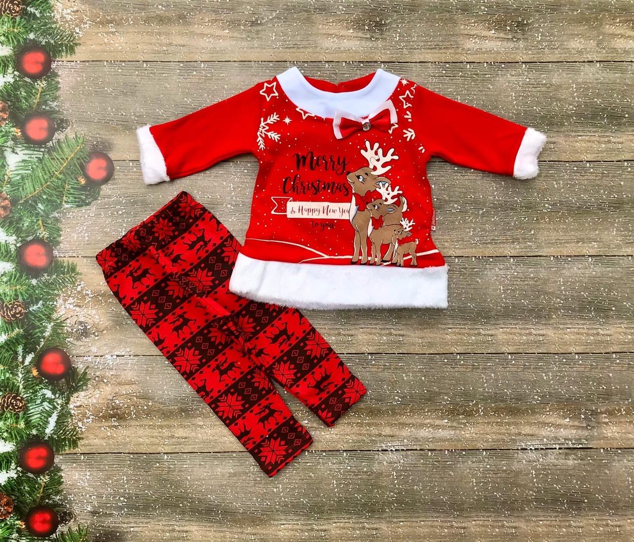 Нарядный новогодний костюм для новорожденного на девочку на флисе р. 74, 80