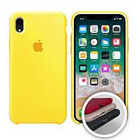 Чехол силиконовый на айфон Silicone Case для iPhone XR закрытый низ yellow желтый