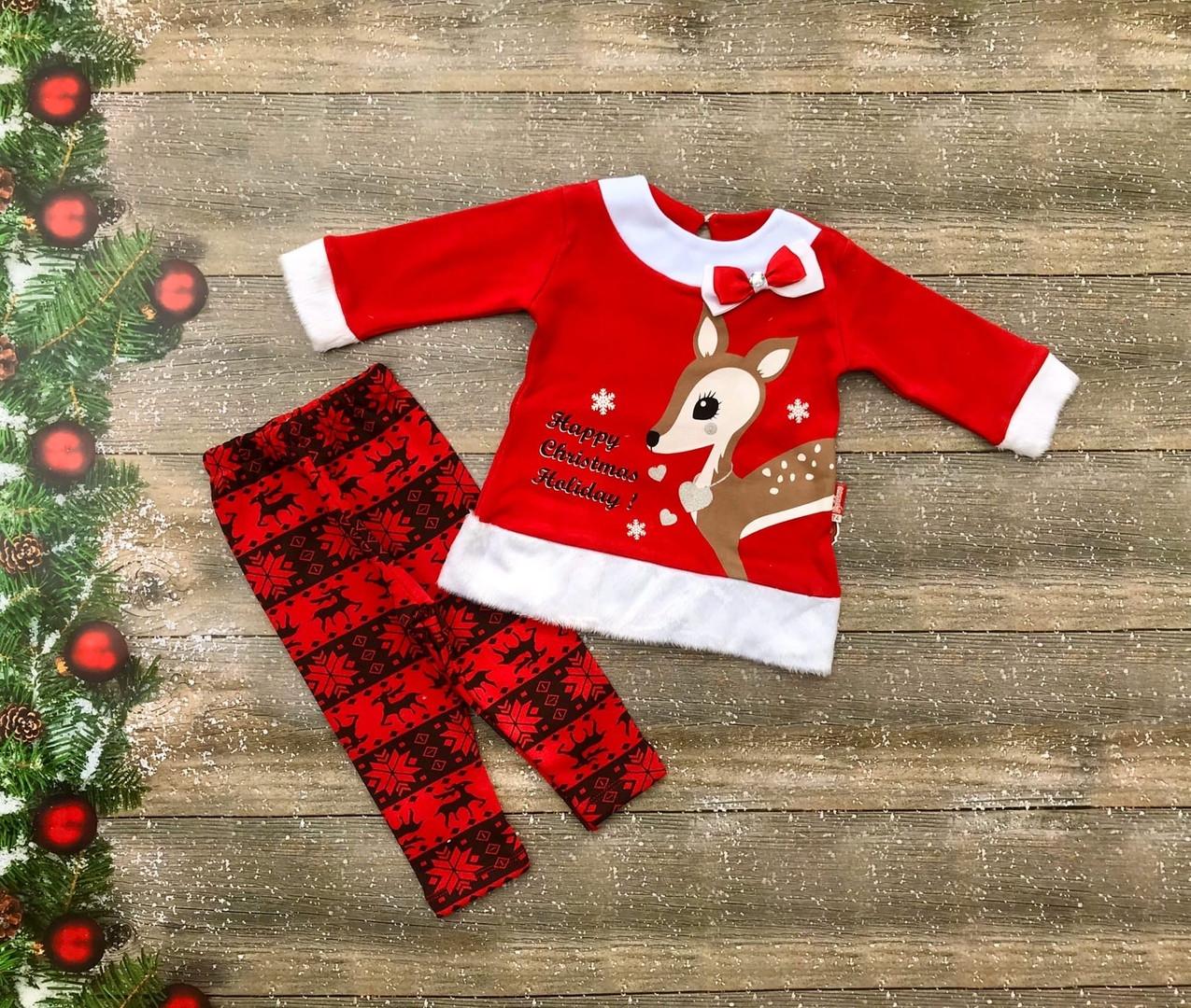 Нарядный новогодний костюм для новорожденного на девочку на флисе р. 74, 80, 86
