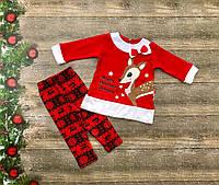 Нарядный новогодний костюм для новорожденного на девочку на флисе р. 74, 80, 86, фото 1