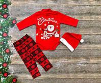 Нарядный новогодний костюм для новорожденного с шапочкой на девочку на флисе р. 62, фото 1