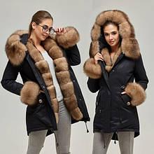 Куртки-парки жіночі шкіряні з натуральним хутром