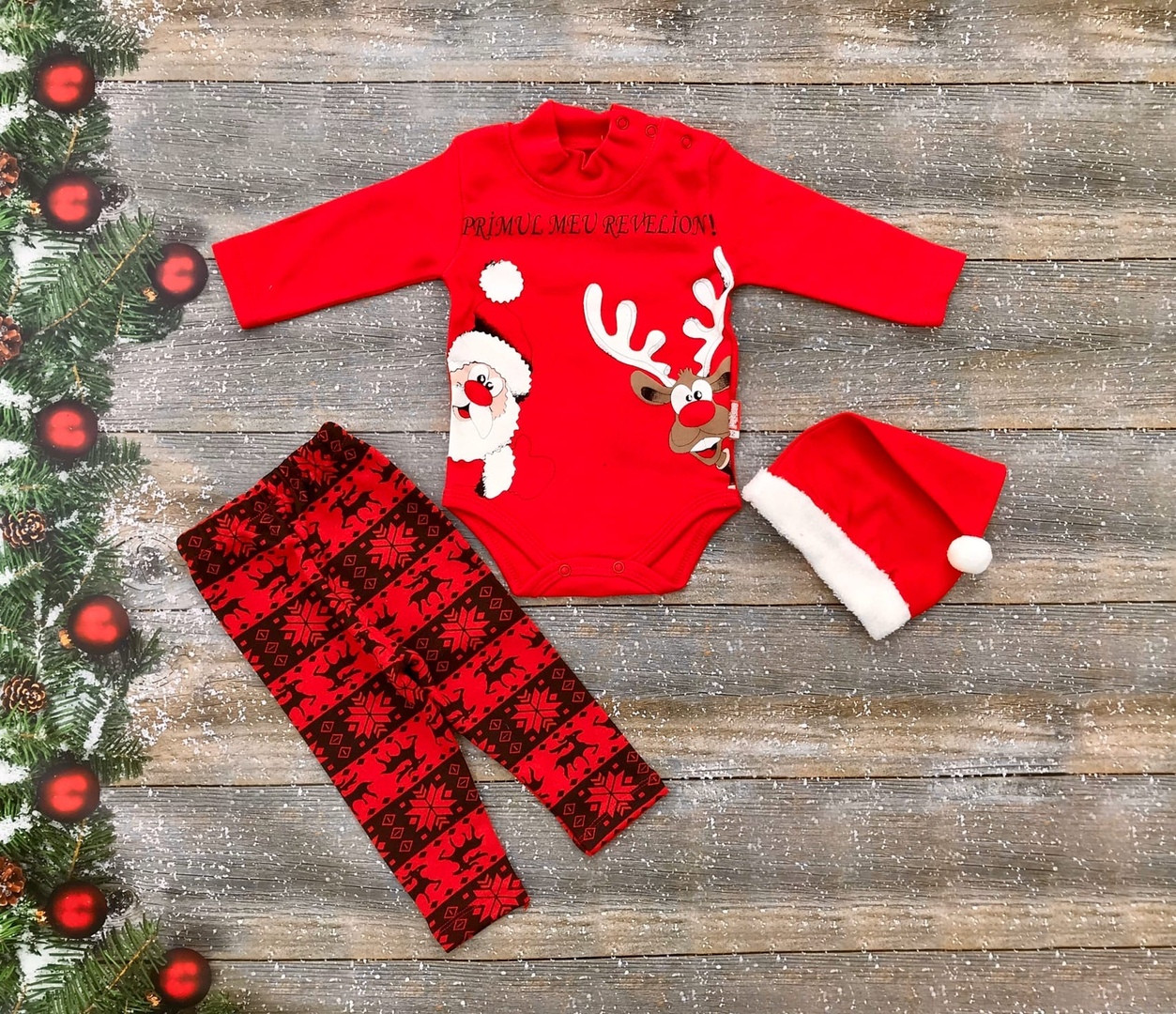 Нарядный новогодний костюм для новорожденного с шапочкой на девочку на флисе р. 62