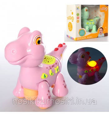 Дитячий музичний нічник-проектор Динозаврик (рожевий), проектор зоряного неба