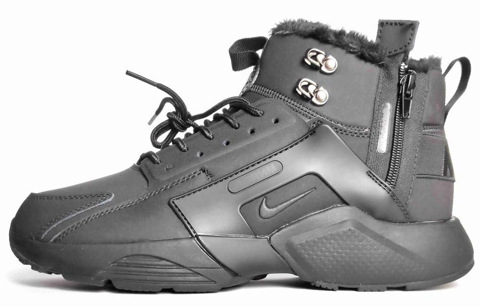 """Мужские зимние кроссовки Nike Air Huarache Acronym """"Black"""" (Premium-class) черные с мехом"""