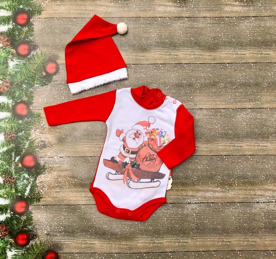 Нарядный новогодний костюм для новорожденного с шапочкой на девочку на флисе р. 62, 68, 74