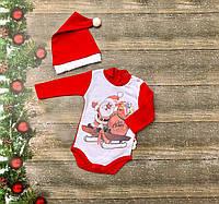 Нарядный новогодний костюм для новорожденного с шапочкой на девочку на флисе р. 62, 68, 74, фото 1