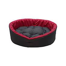 Лежанка для животных, лежак для собак и кошек. Серый с красным