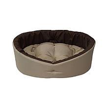 Лежак для собак и кошек. Бежевый с коричневым.