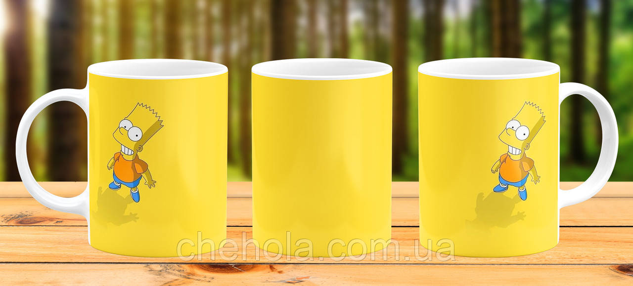 Оригинальная кружка с принтом Барт Симпсон Прикольная чашка подарок
