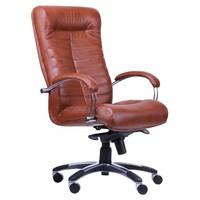 Кресло Орион HB хром кожа сплит чёрная, мех. Anyfix