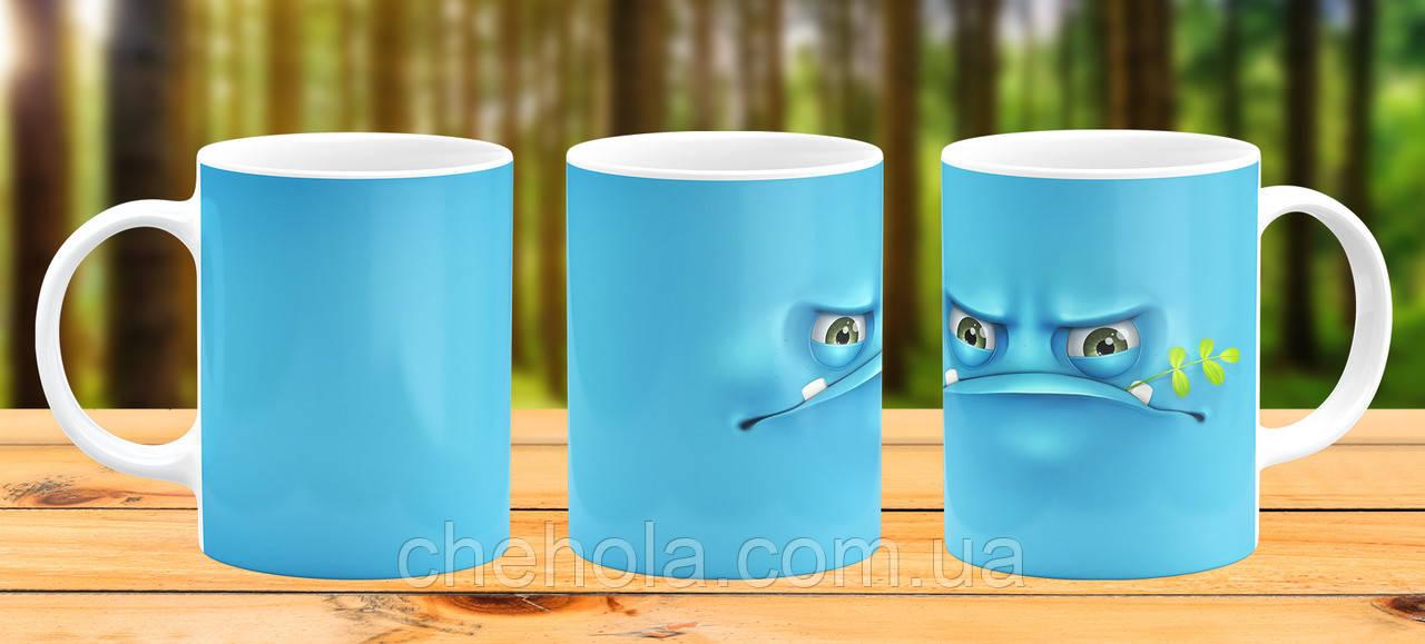 Оригинальная кружка с принтом Синий монстр Прикольная чашка подарок Коллеге