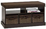Банкетка в прихожую темно коричневая с 3-мя ящиками, фото 1