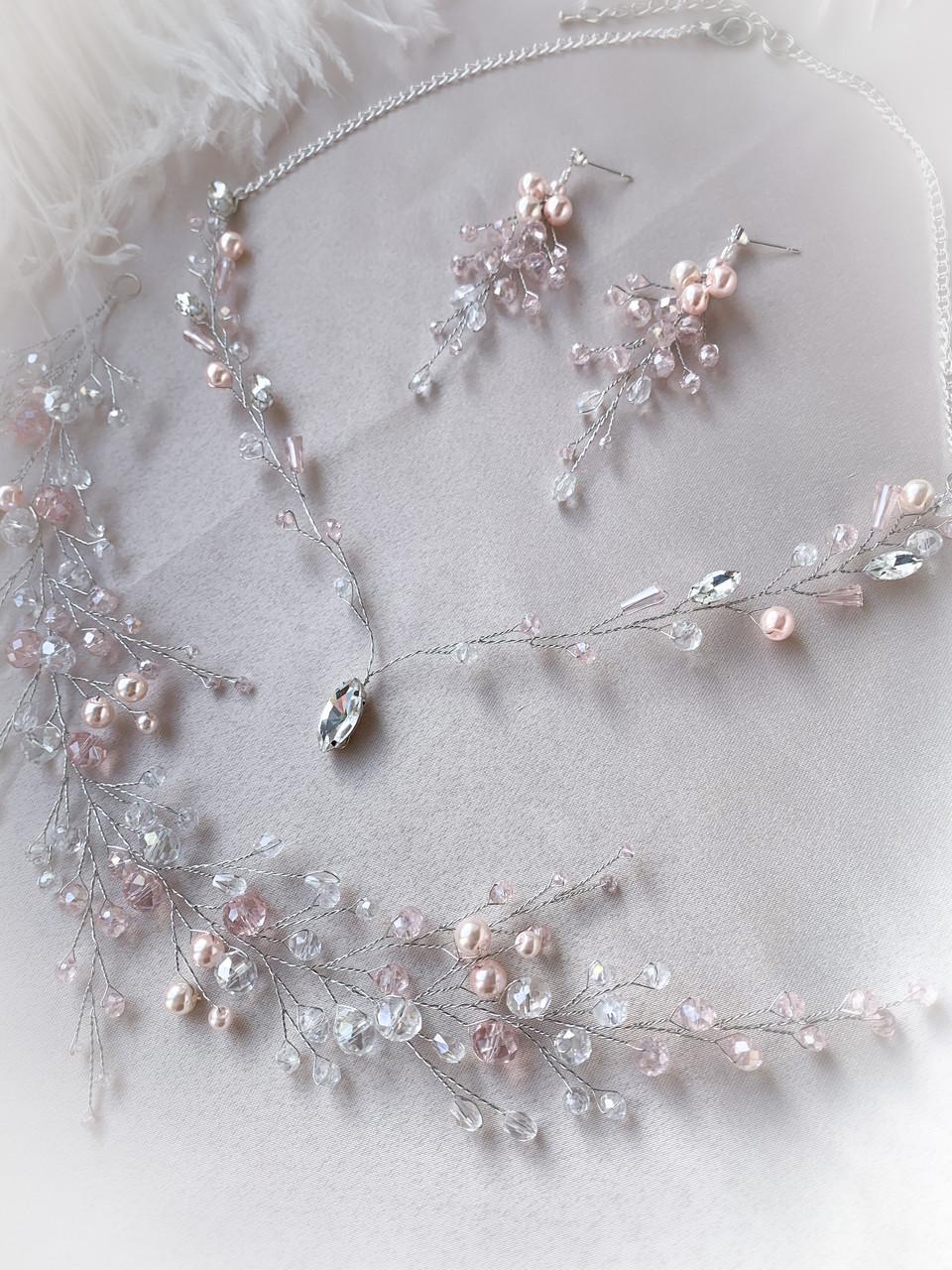 Нежный набор в пудровом цвете, веточка в прическу, серьги, колье